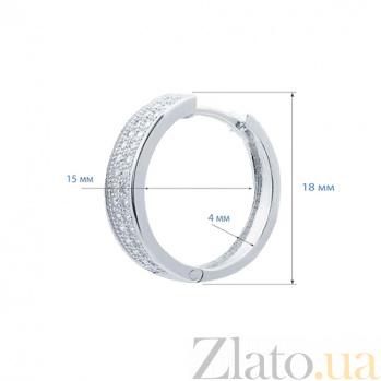 Серебряные серьги кольца с фианитами Жади AQA--JR-2996-Ek