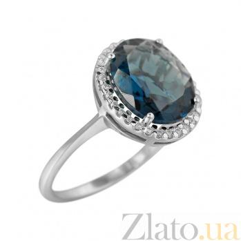 Серебряное кольцо Симона с синим синтезированным кварцем и фианитами 000081574