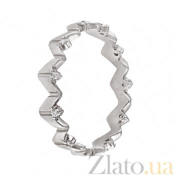 Золотое кольцо в белом цвете Констанция с фианитами 000022948