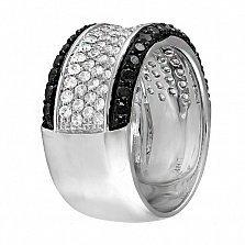 Кольцо из белого золота Карамия с черными бриллиантами и лейкосапфирами