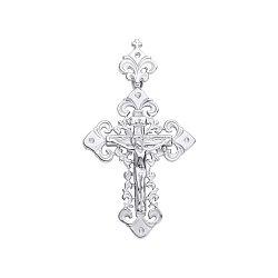 Серебряный крестик с ажурными основой и бунтиком 000093591