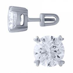 Серьги-пуссеты из белого золота Джина с бриллиантами 000078202