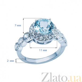 Серебряное кольцо с топазом и цирконами Джильда AQA--R00967T