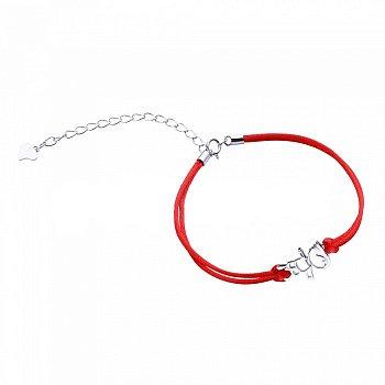 Браслет из серебра и шелковой красной нити Мальчик 000099323