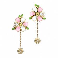Золотые серьги с бриллиантами и эмалью Цветы любви