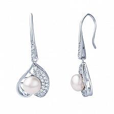 Серебряные сережки с жемчугом и фианитами Нежная любовь