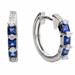Серьги-кольца из белого золота с сапфирами и бриллиантами Виола