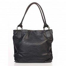 Кожаная сумка на каждый день Genuine Leather 8954 черного цвета с декоративной кистью на цепочке