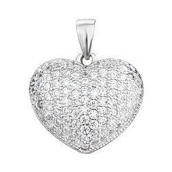Серебряный кулон-сердце с фианитами 000103126