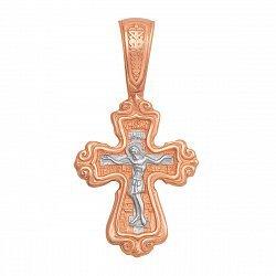 Золотой двусторонний крестик Распятие и Божья Матерь в комбинированном цвете
