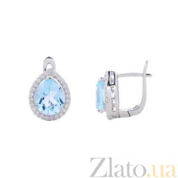 Серебряные серьги с голубым топазом Небеса AQA--E01727T