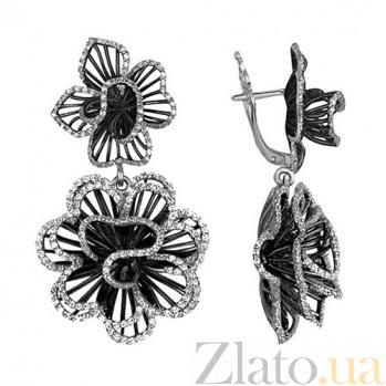 Серьги из белого золота с цирконием Зимние розы VLT--ТТ2218