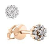Золотые серьги-пусеты с бриллиантами Шедевр