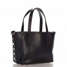 Миниатюрная кожаная сумка Genuine Leather 1690 черного цвета со съемным ремнем и ножками на дне