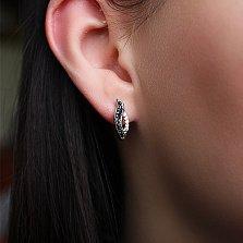 Серебряные серьги Анита с черным и белым цирконием