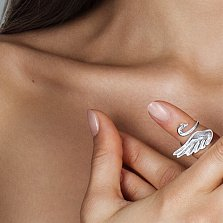 Серебряное фаланговое кольцо Большой лебедь
