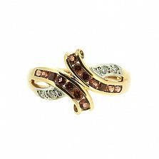 Золотое кольцо в красном цвете с бриллиантами и гранатами Арника