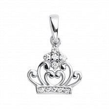 Серебряная подвеска Коронация с белыми фианитами