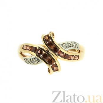 Золотое кольцо в красном цвете с бриллиантами и гранатами Арника ZMX--RGn-6116_K