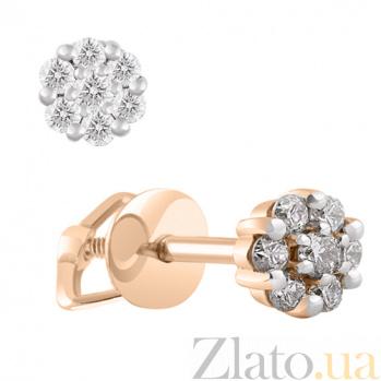 Золотые серьги-пусеты с бриллиантами Шедевр KBL--С2323/крас/брил