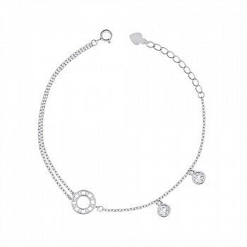 Срібний браслет з фіанітами 000149052