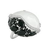 Золотое кольцо с лунным камнем, ониксом и бриллиантами Констанс