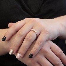 Золотое кольцо Сианна в красном цвете с пятью фианитами