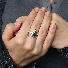 Серебряное кольцо Зеленоглазая лисичка с фианитами