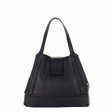 Кожаная сумка на каждый день Genuine Leather 8809 темно-синего цвета с хлястиком на кнопке