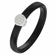 Кольцо в белом золоте Оливия с керамикой и бриллиантами