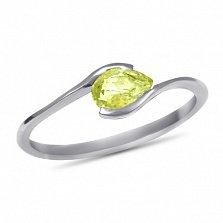 Золотое кольцо Тонкие грани в белом цвете с цитрином