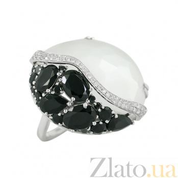 Золотое кольцо с лунным камнем, ониксом и бриллиантами Констанс 1К193-0551