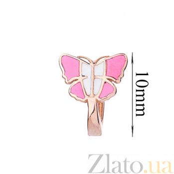 Детские золотые серьги с цветной эмалью Бабочки ONX--с03223