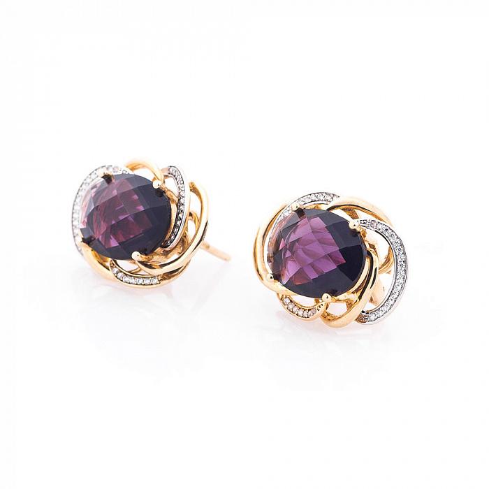 Золотые серьги Антуанетта с фиолетовым и белыми фианитами 000082551