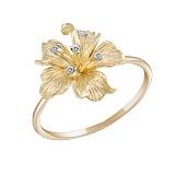 Кольцо Лилия из желтого золота с бриллиантами