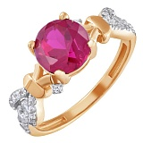 Золотое кольцо Анонс с корундом рубина и фианитами