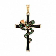 Крестик из желтого золота с фианитами Роза