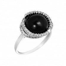 Серебряное кольцо Элайя с черным ониксом и фианитами