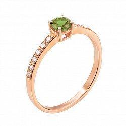Кольцо из красного золота с хризолитом и фианитами 000133397