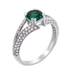 Серебряное кольцо Юлиана с зеленым кварцем
