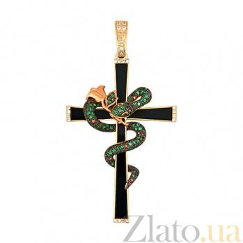 Крестик из желтого золота с фианитами Роза VLT--ТТТ3451