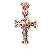 Крестик из желтого золота Распятие Иисуса с эмалью