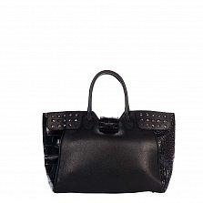 Кожаная деловая сумка Genuine Leather 8947 черного цвета с декоративными заклепками