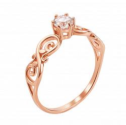 Кольцо из красного золота Пенелопа с фианитом