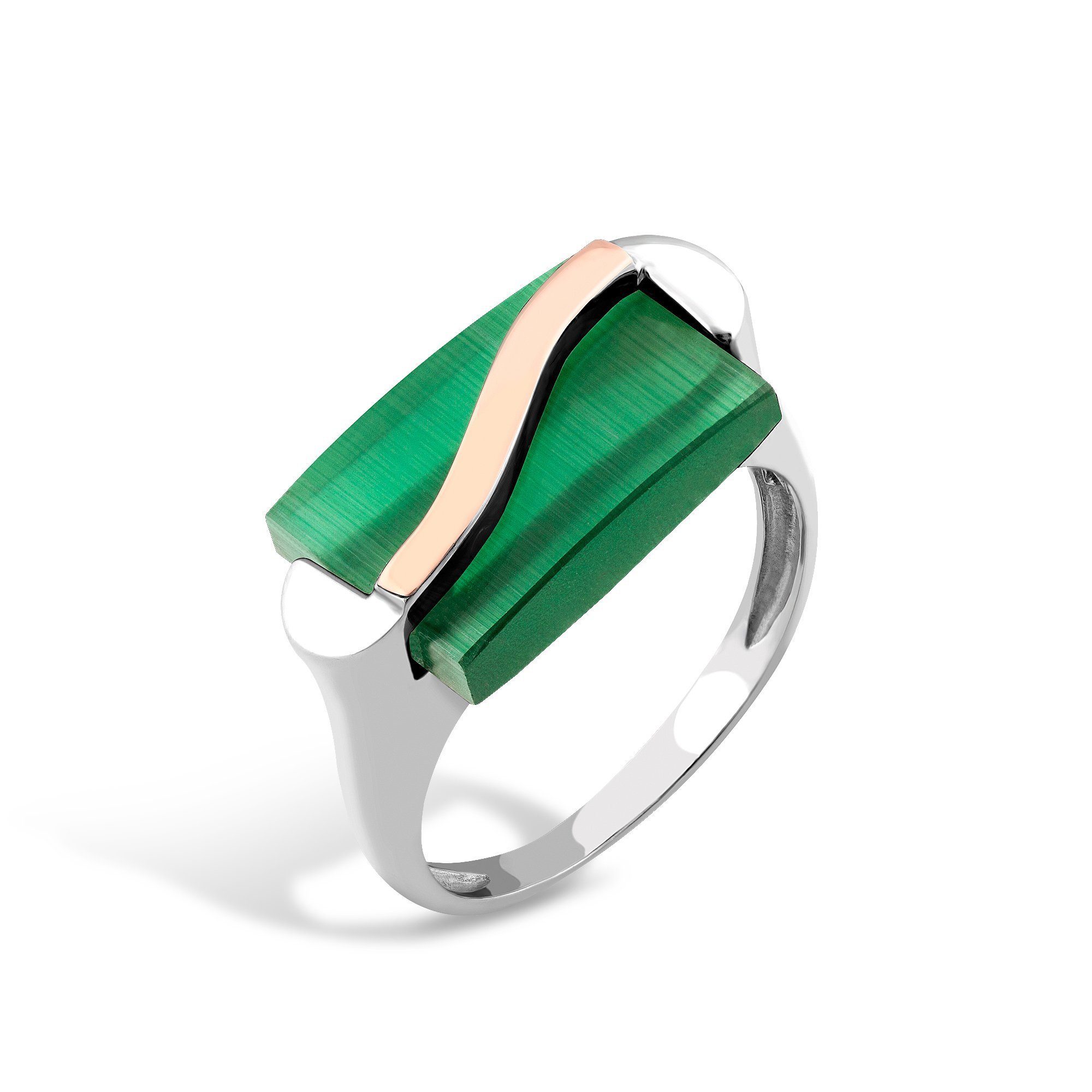 Серебряное кольцо Цезарина с золотой накладкой и зеленым улекситом