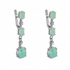 Серебряные серьги-подвески Джемма с хризопразами и фианитами