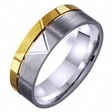 Мужское обручальное кольцо Романтический этюд из комбинированного золота с алмазной гранью