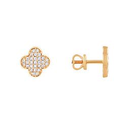 Серьги-пуссеты в красном золоте с фианитами 000099235