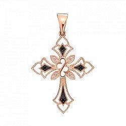 Золотой декоративный крестик с черными и белыми фианитами 000126759