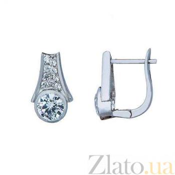 Серьги серебряные с белым куб. цирконом AQA--S228550304